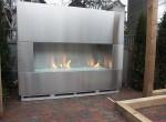 outdoor steel fireplace wall