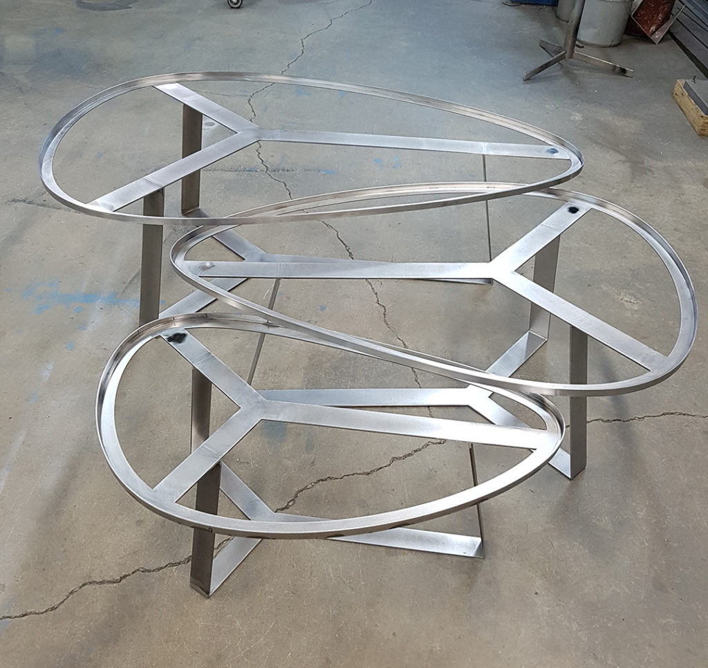 stainless steel set of 3 coffee table bases