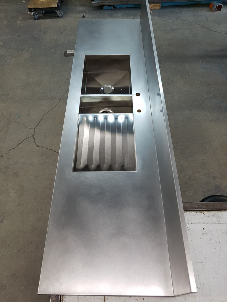 stainless steel Sink and counter all-in-one